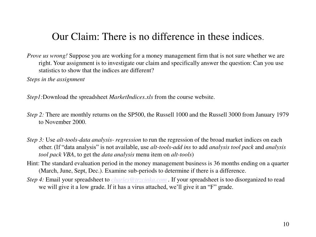 Our Claim: There is no difference in these indices