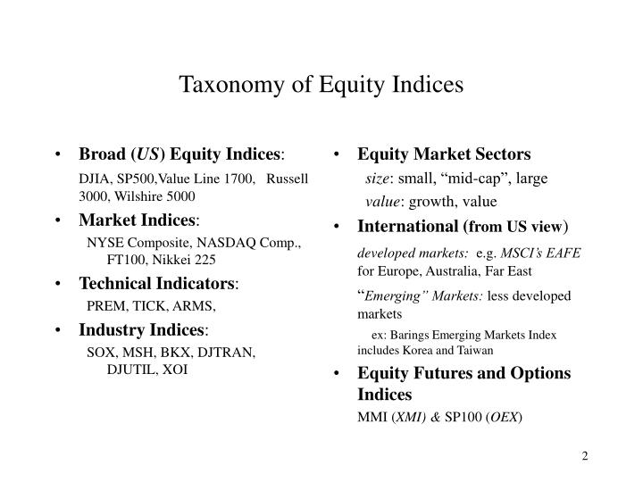 Taxonomy of equity indices