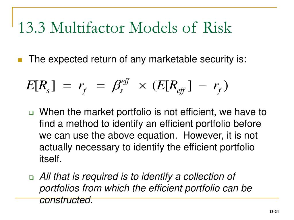 13.3 Multifactor Models of Risk