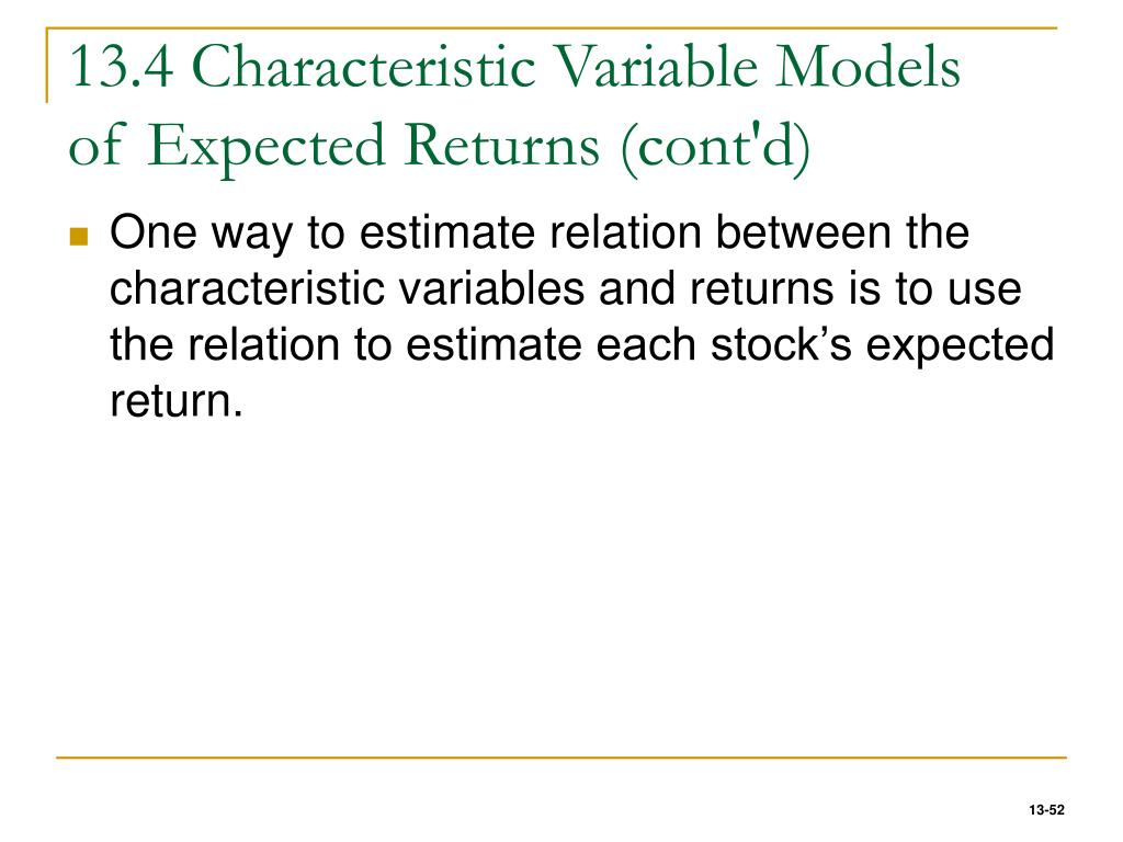 13.4 Characteristic Variable Models