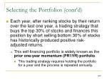 selecting the portfolios cont d37