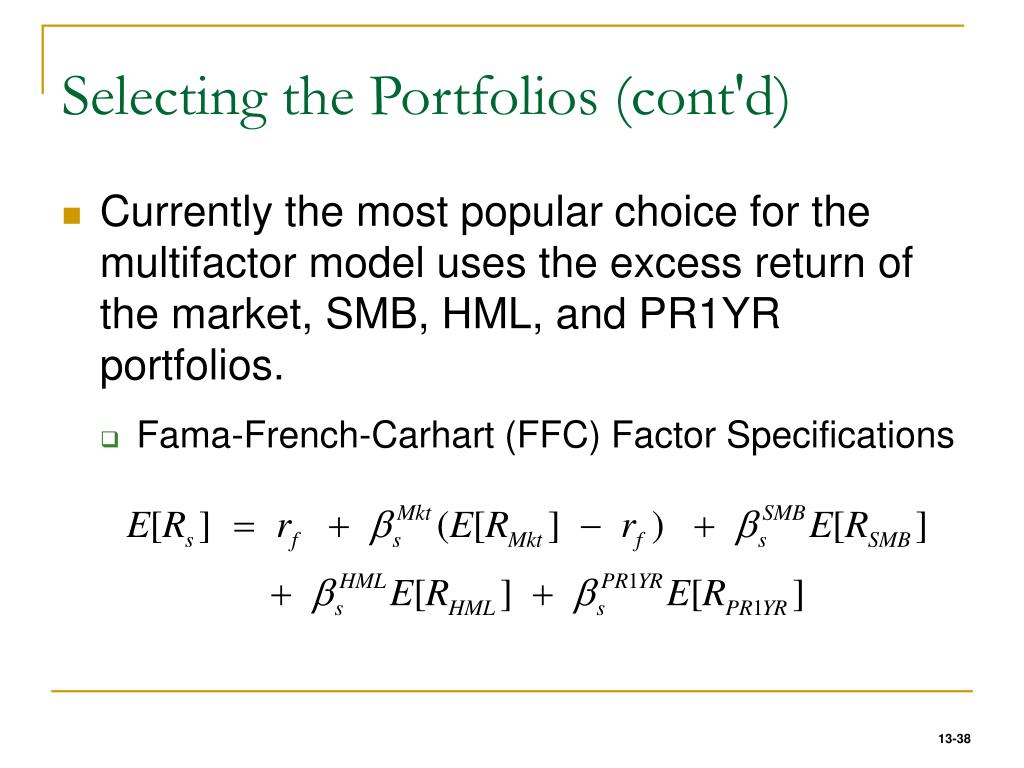 Selecting the Portfolios (cont'd)