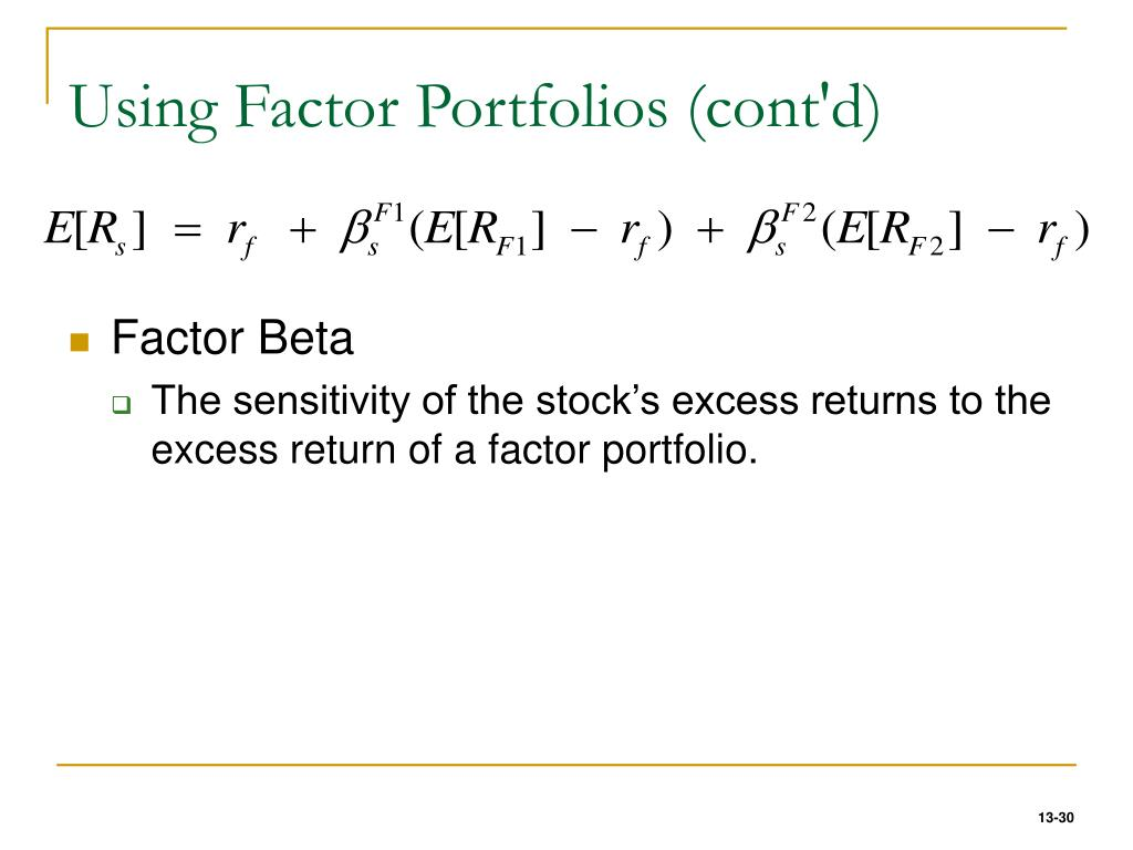 Using Factor Portfolios (cont'd)