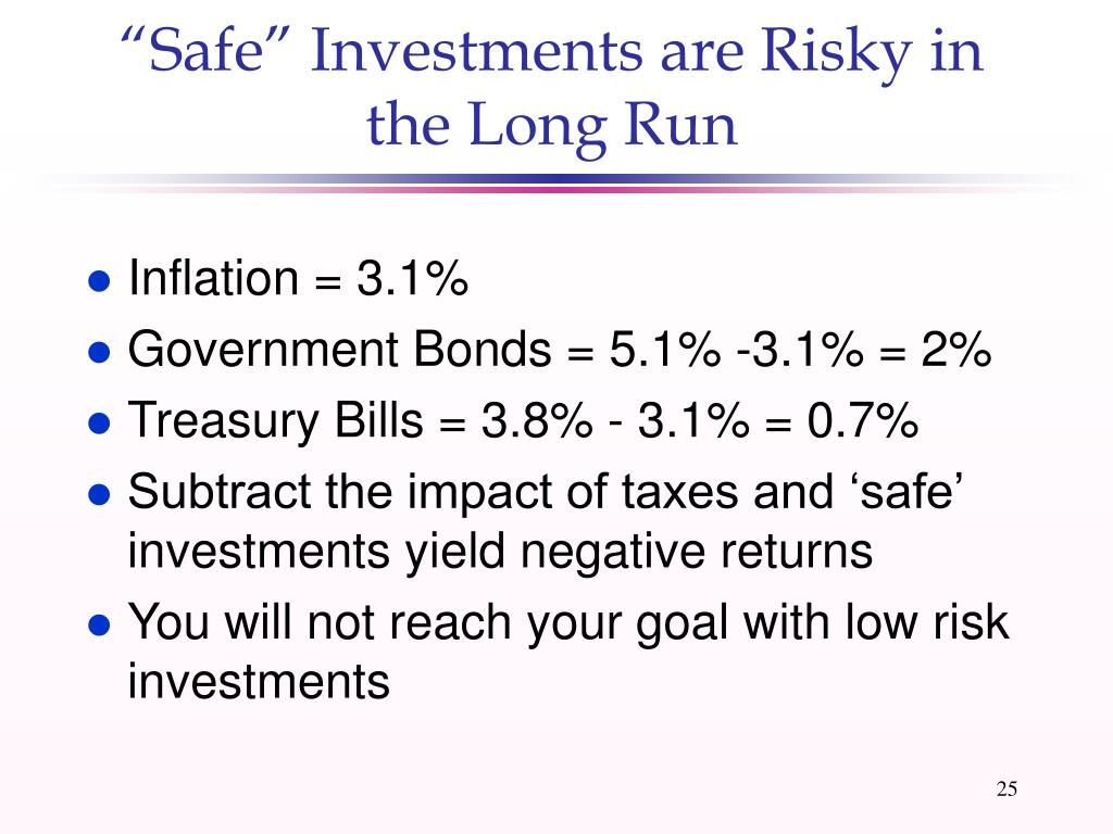 """Safe"" Investments are Risky in the Long Run"