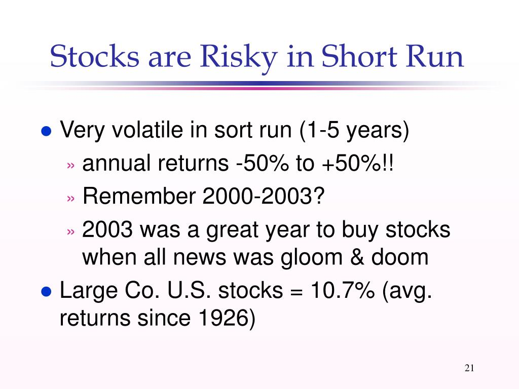 Stocks are Risky in Short Run