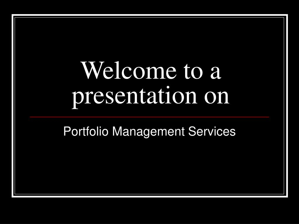 Portfolio Management Services