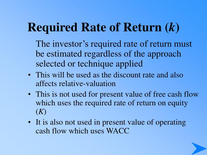 Required rate of return k