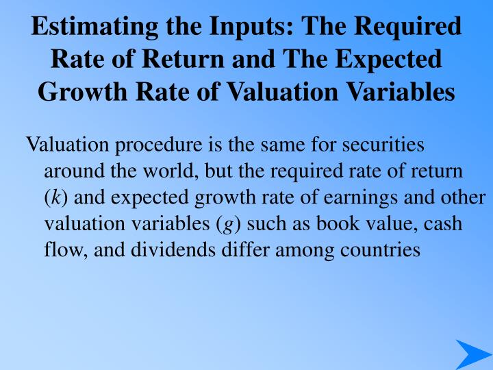 Estimating the Inputs: The Required Rate of Return and The Expected Growth Rate of Valuation Variabl...