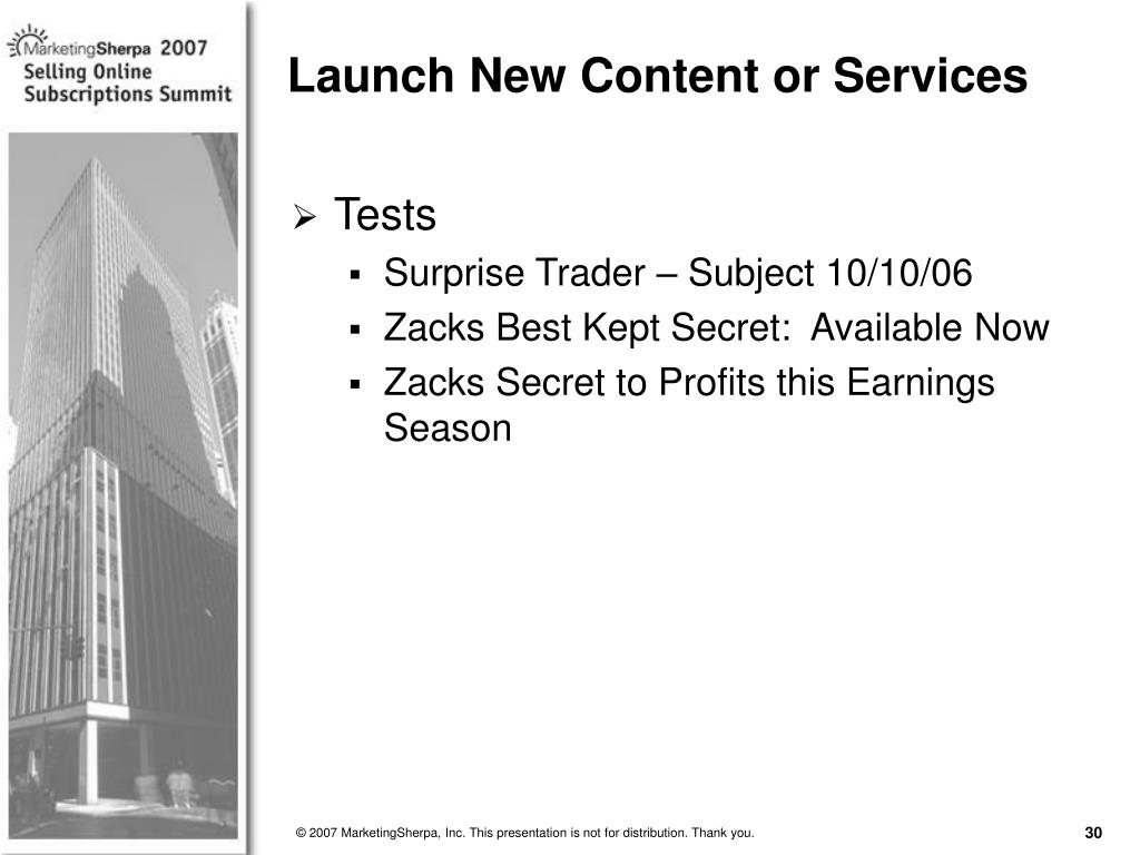 Launch New Content or Services