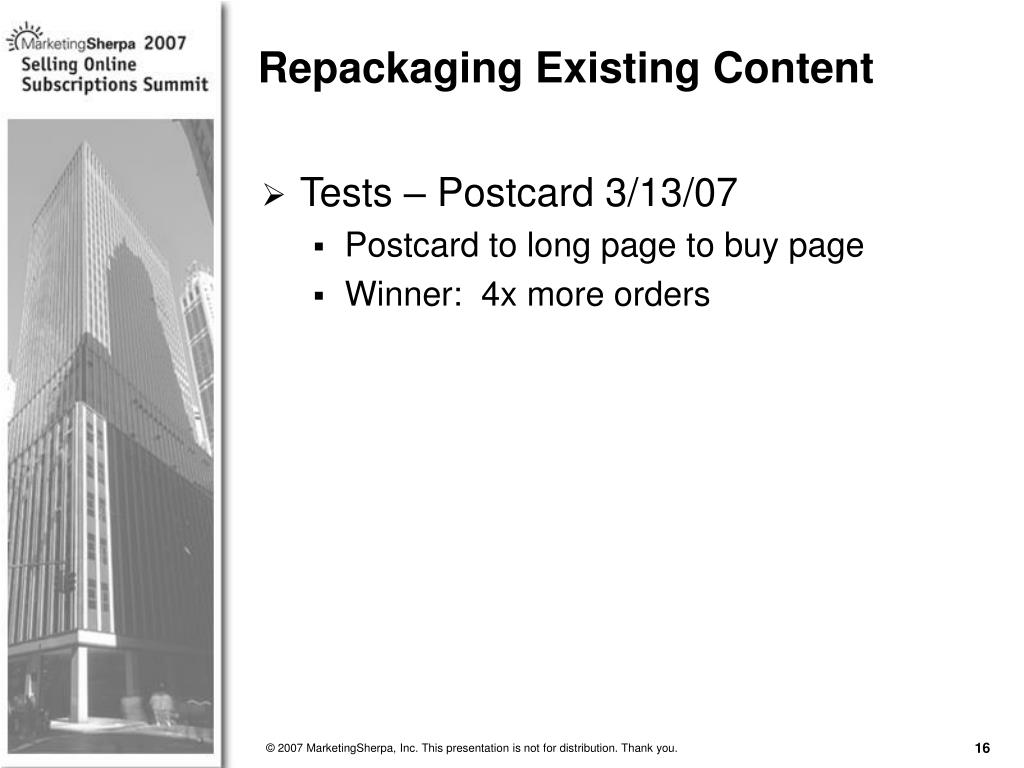 Repackaging Existing Content