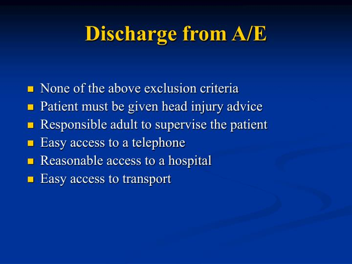 Discharge from A/E