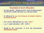 allocation what allocation