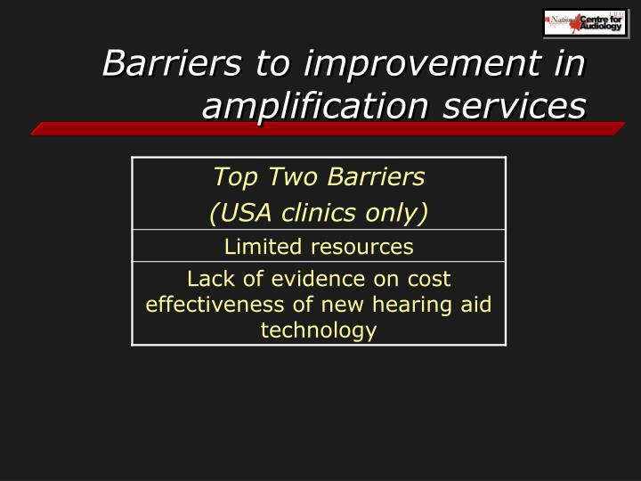 Barriers to improvement in amplification services