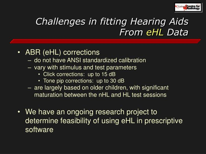 Challenges in fitting Hearing Aids From