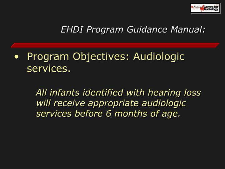 EHDI Program Guidance Manual: