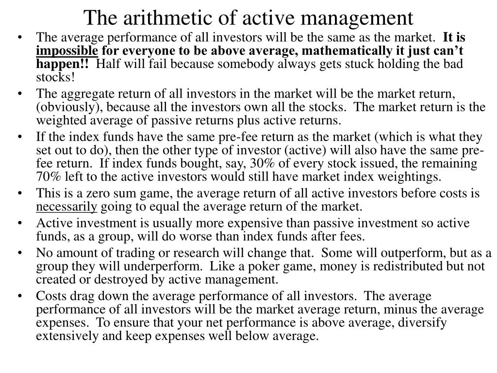 The arithmetic of active management