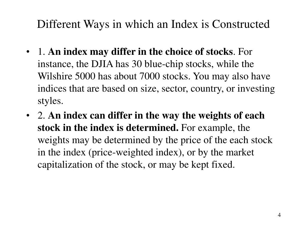 Different Ways in which an Index is Constructed