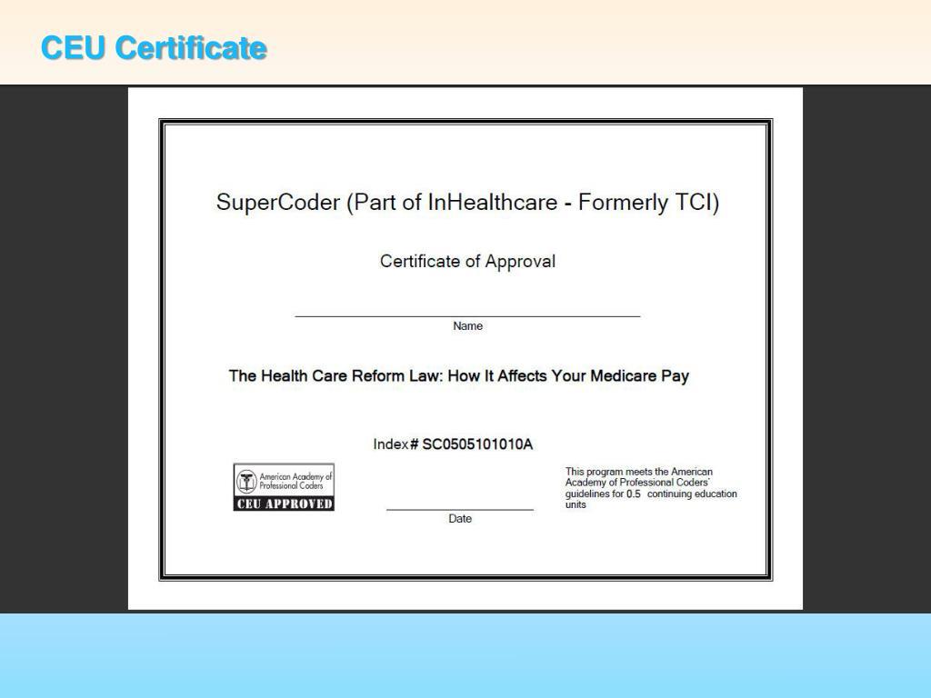 CEU Certificate
