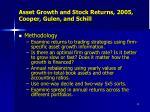 asset growth and stock returns 2005 cooper gulen and schill