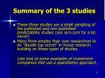summary of the 3 studies