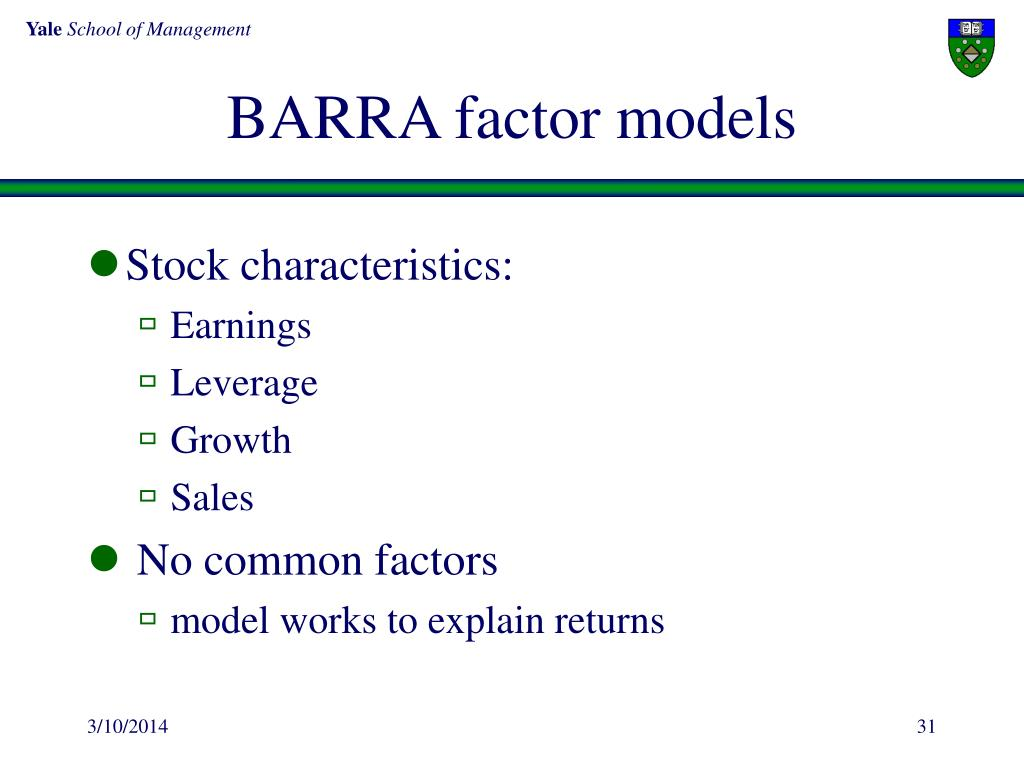 BARRA factor models
