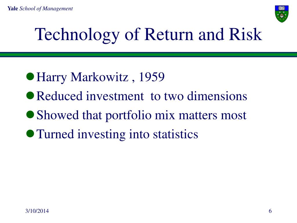 Technology of Return and Risk