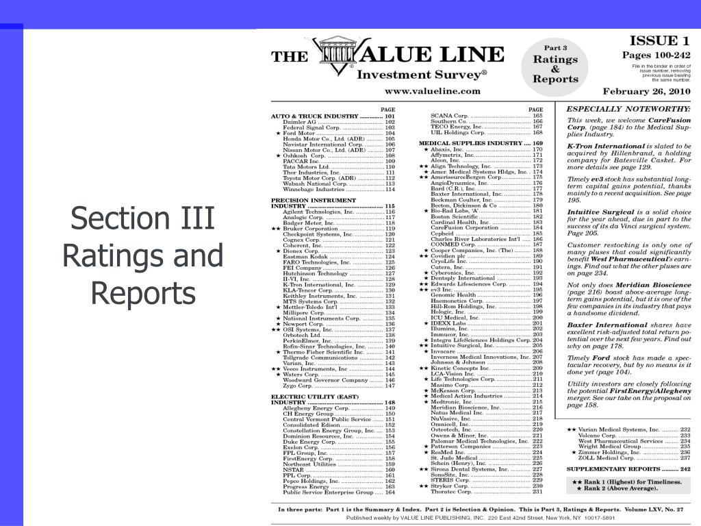 Section III Ratings and Reports