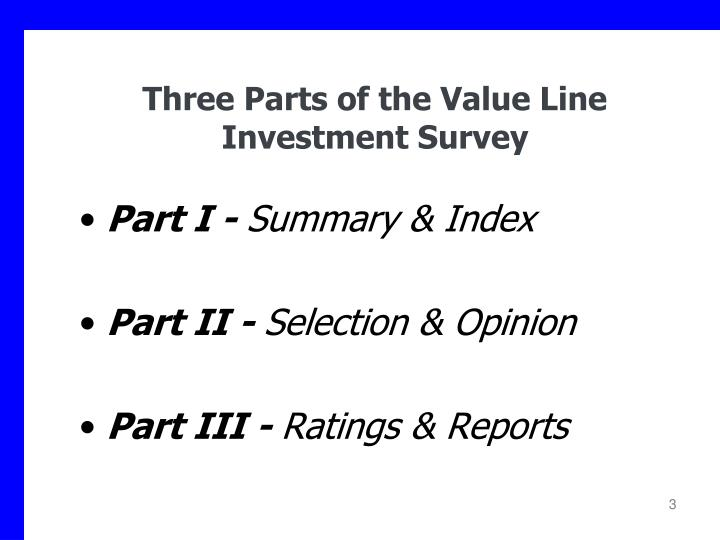 Three parts of the value line investment survey