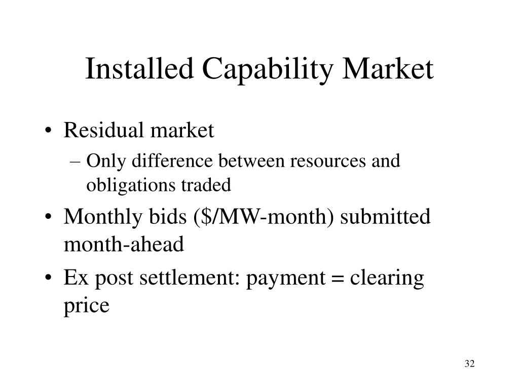 Installed Capability Market