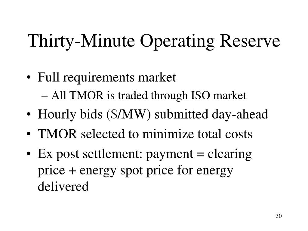 Thirty-Minute Operating Reserve