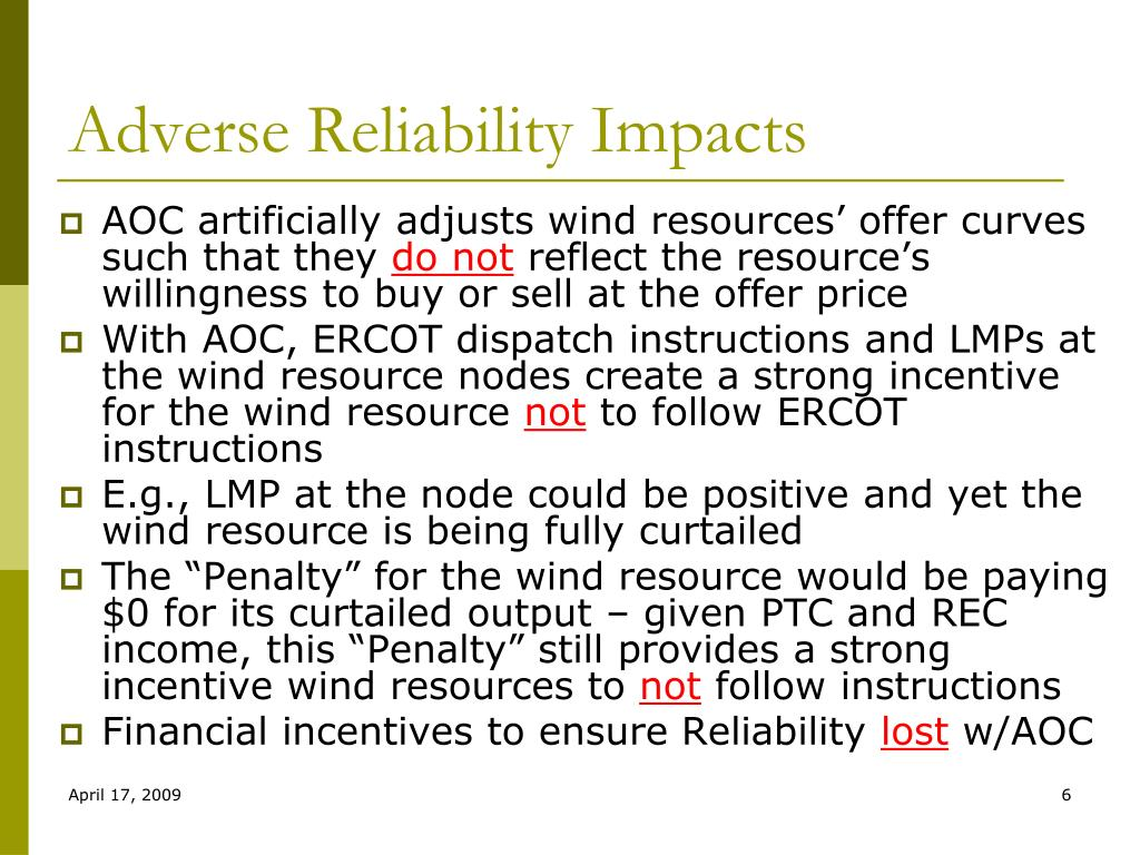 Adverse Reliability Impacts