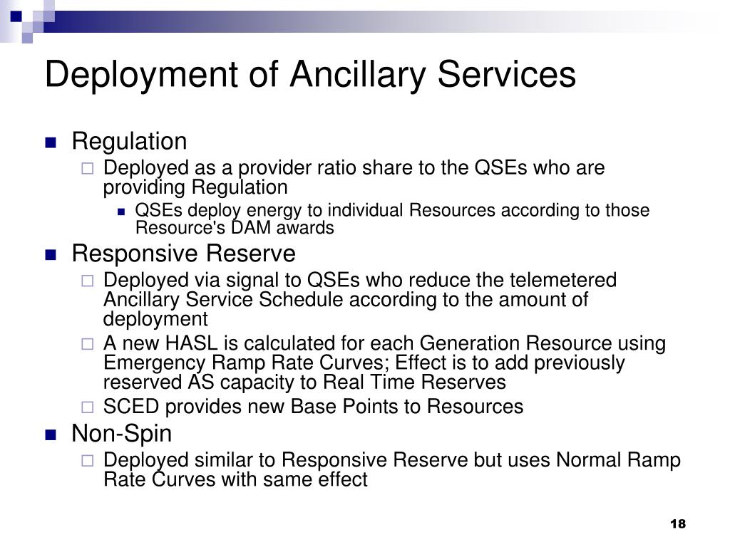 Deployment of Ancillary Services