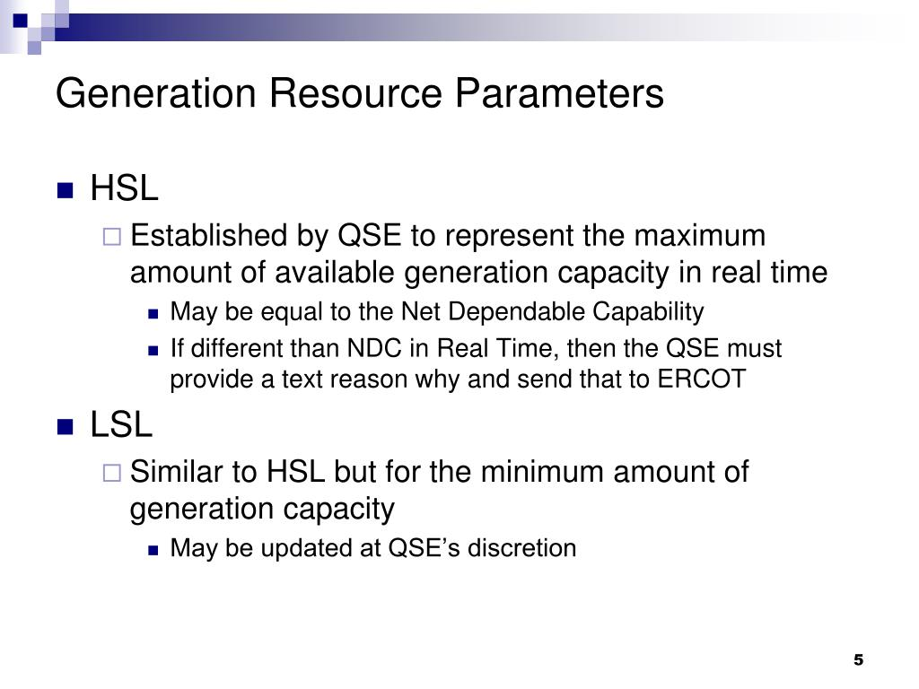 Generation Resource Parameters