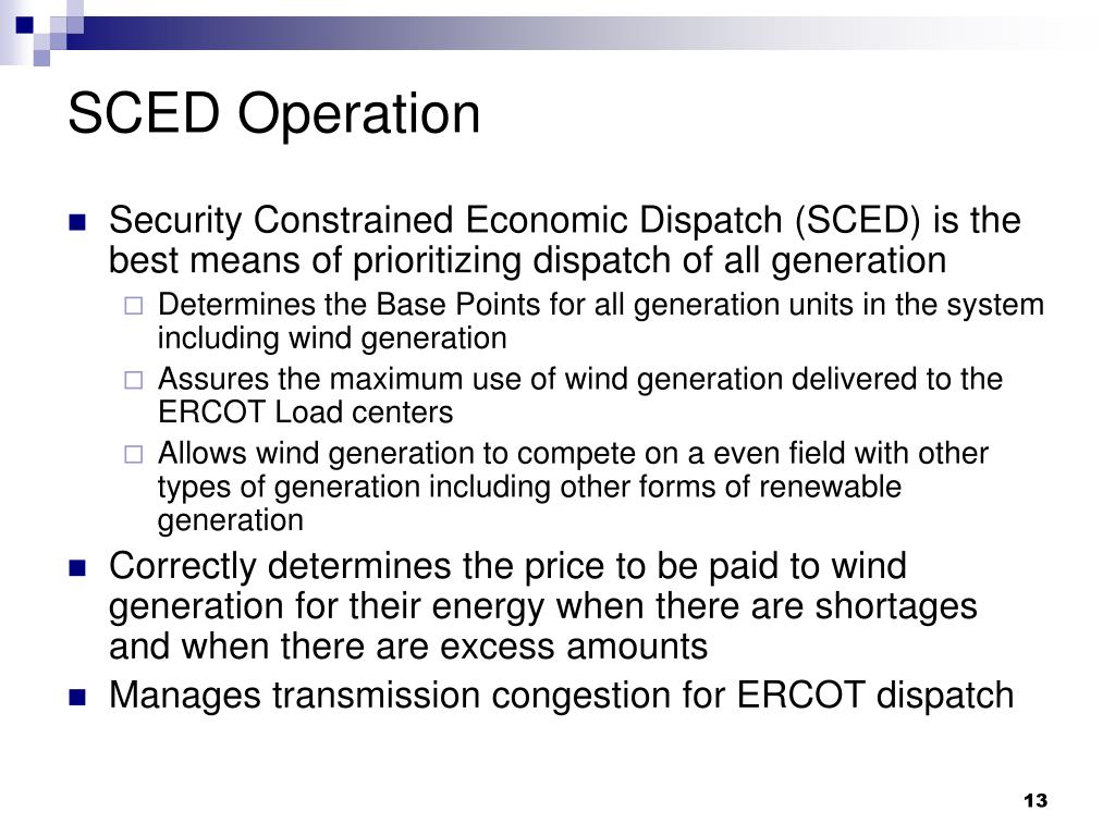 SCED Operation
