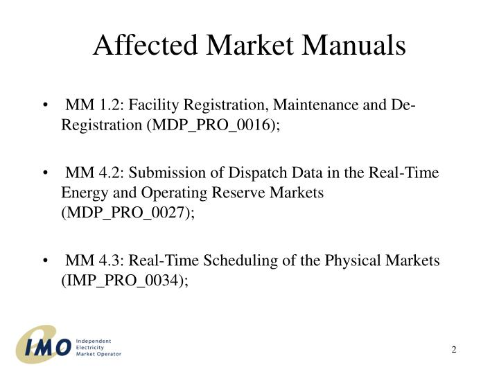 Affected market manuals