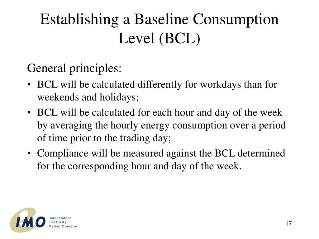 Establishing a Baseline Consumption Level (BCL)