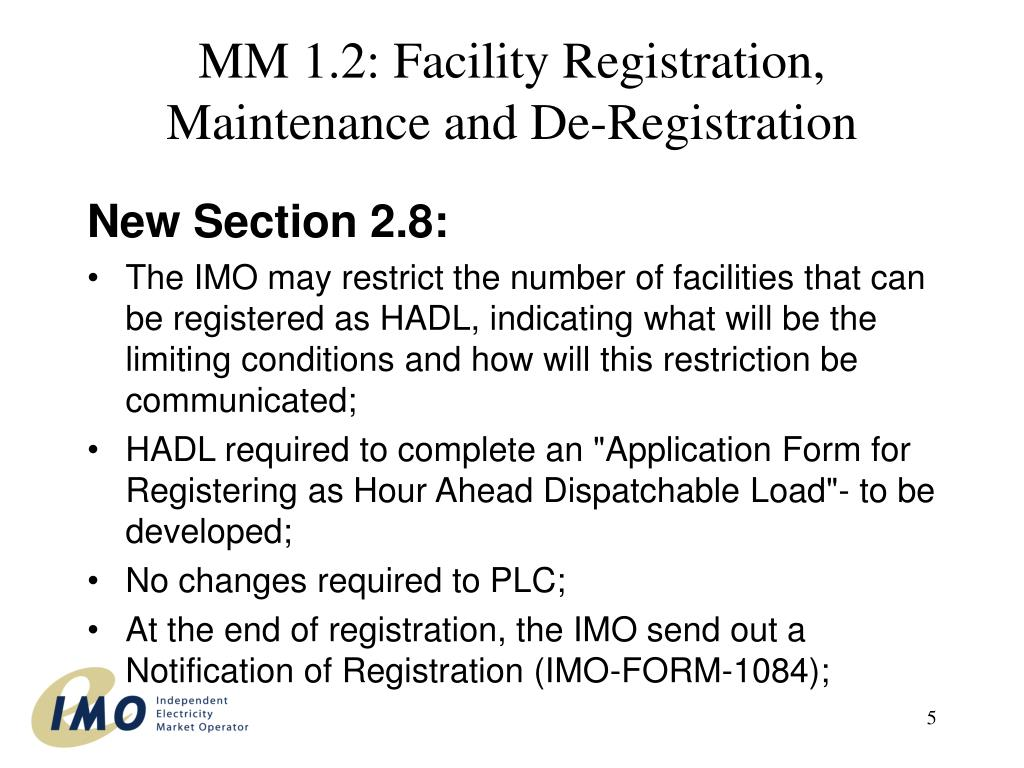 MM 1.2: Facility Registration, Maintenance and De-Registration
