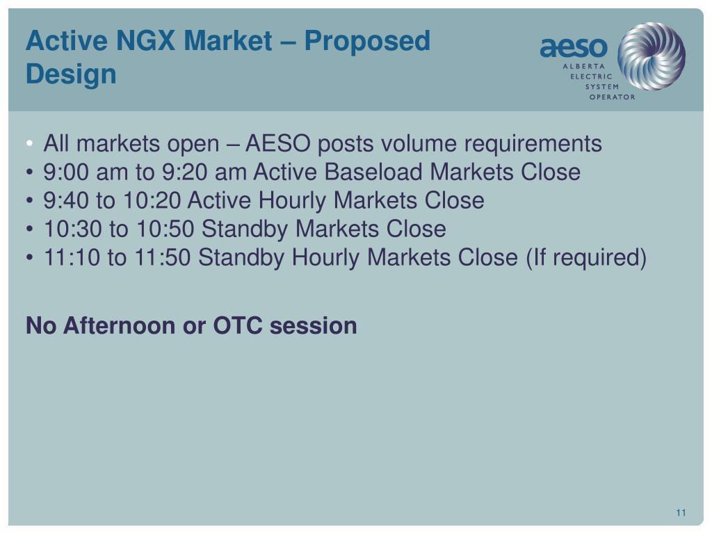 Active NGX Market – Proposed Design