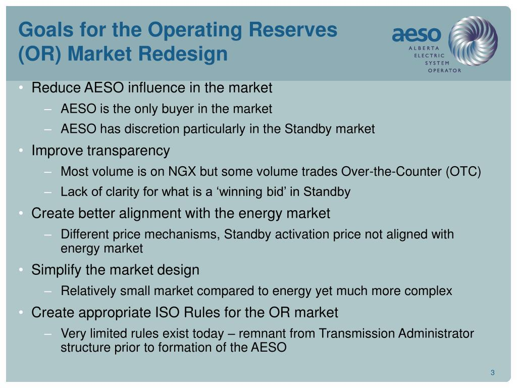 Goals for the Operating Reserves (OR) Market Redesign