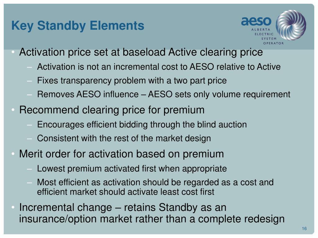 Key Standby Elements