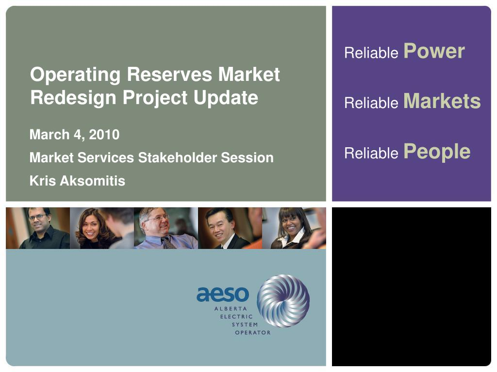 Operating Reserves Market Redesign Project Update
