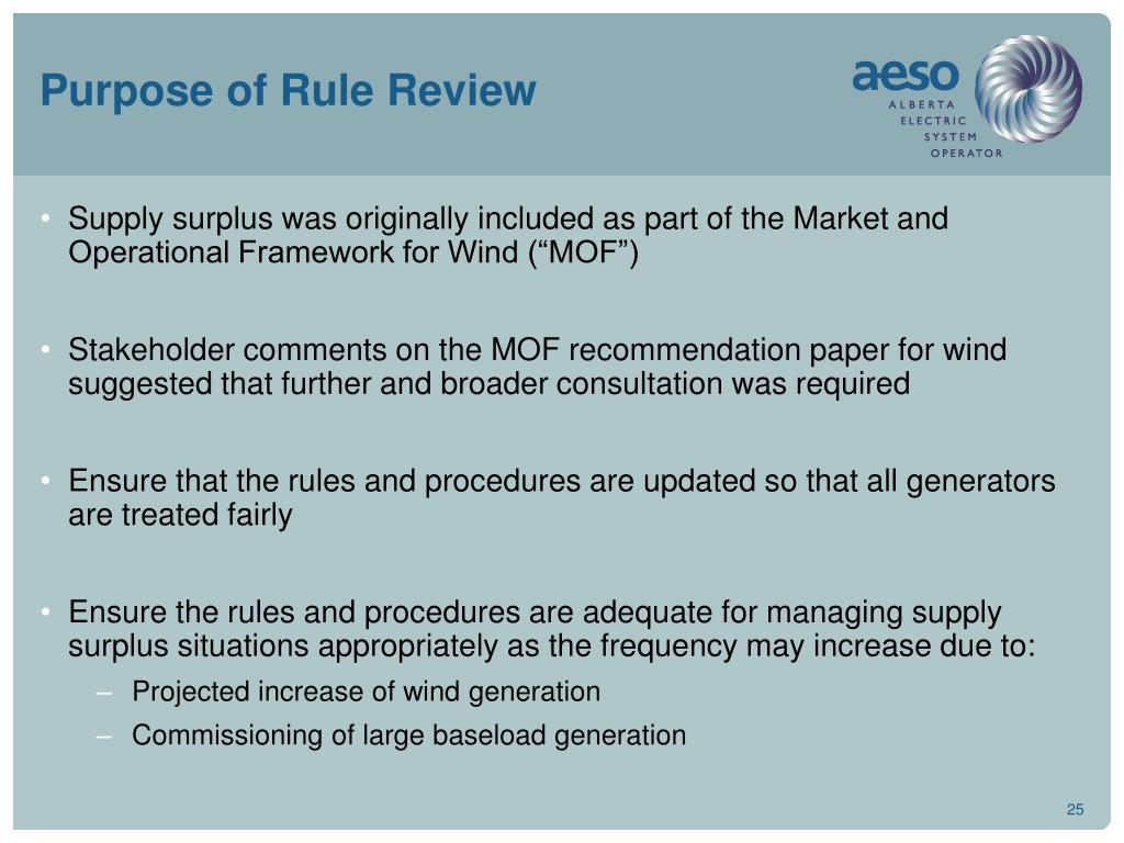 Purpose of Rule Review