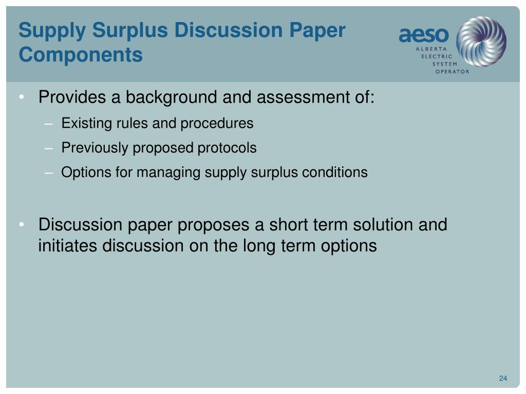 Supply Surplus Discussion Paper Components