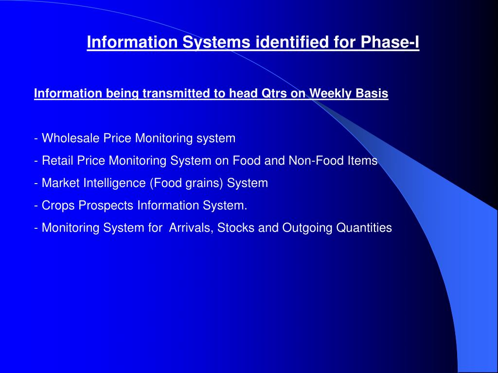Information Systems identified for Phase-I