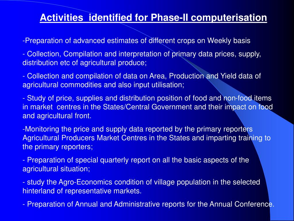 Activities  identified for Phase-II computerisation