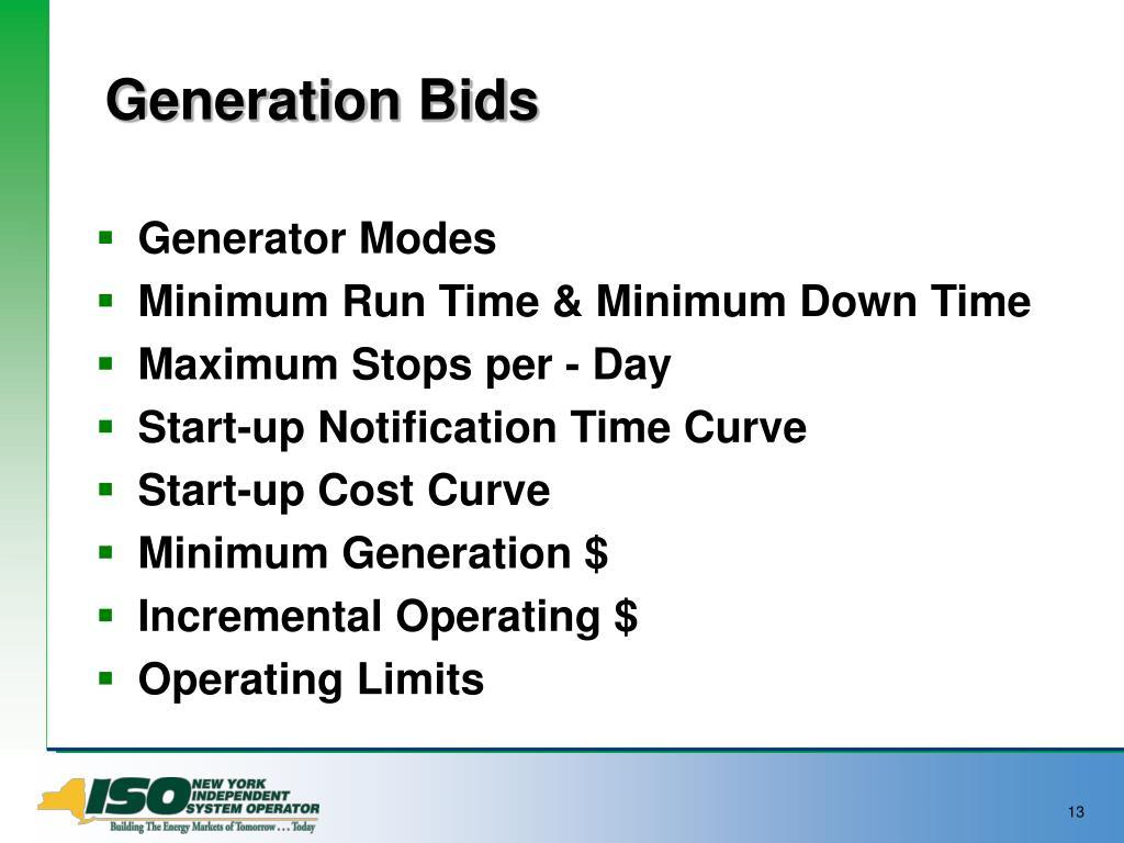 Generation Bids