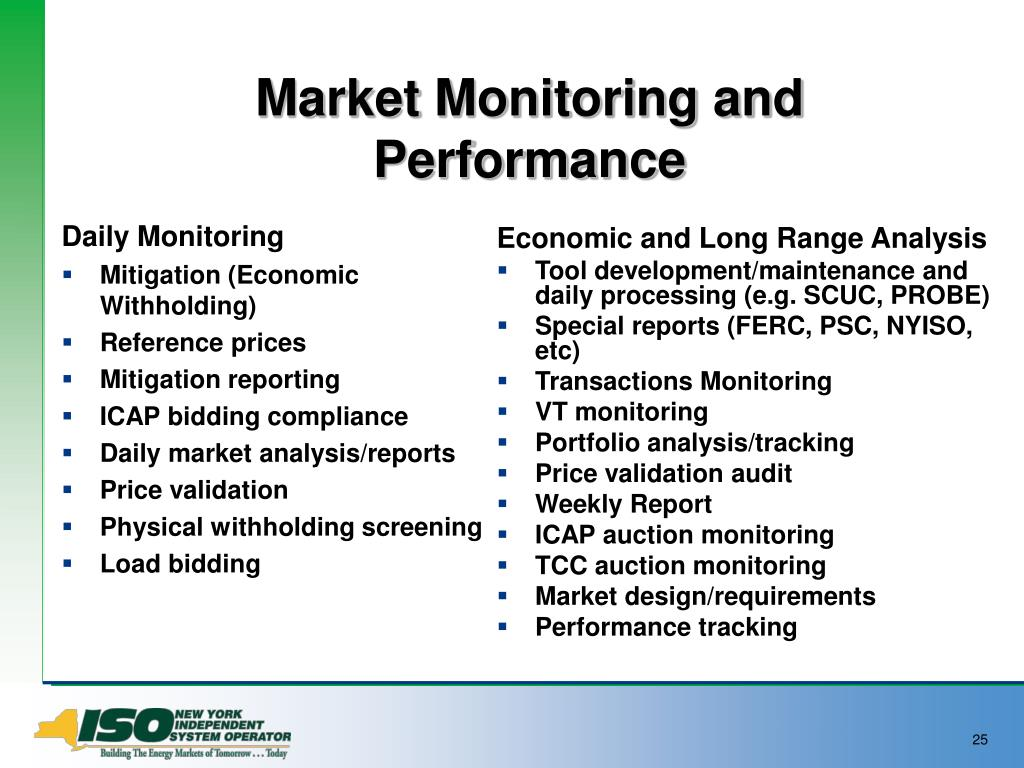 Market Monitoring and Performance