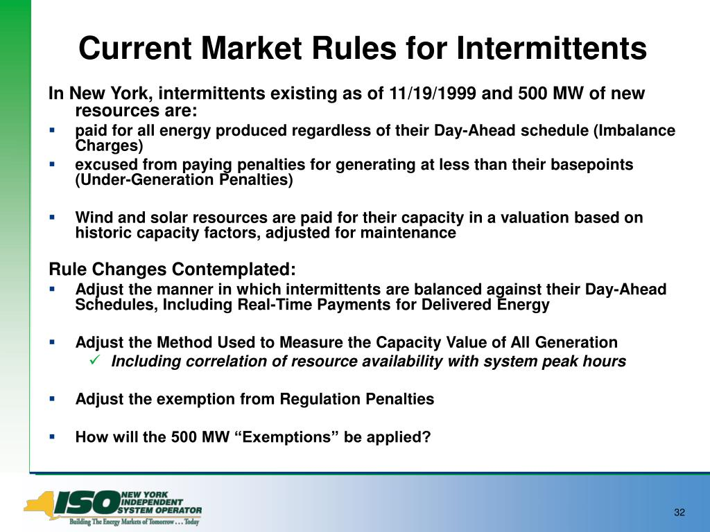 Current Market Rules for Intermittents