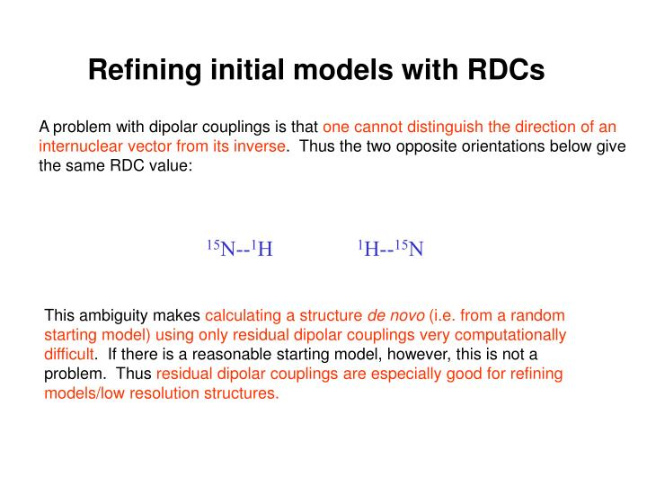 Refining initial models with RDCs