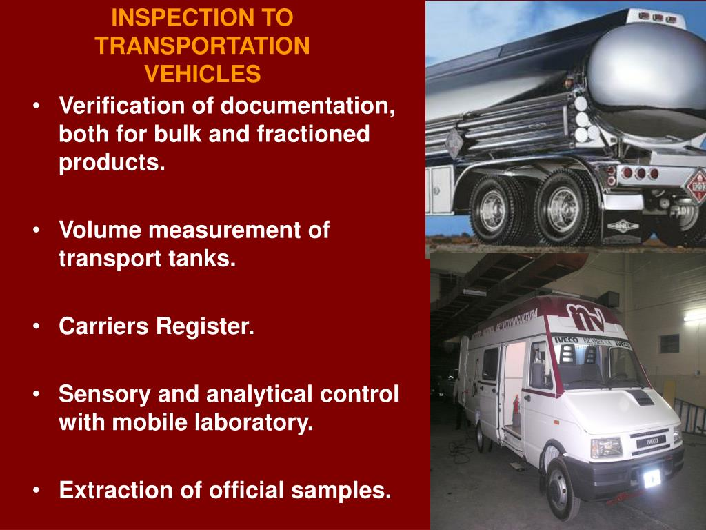 INSPECTION TO TRANSPORTATION VEHICLES
